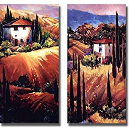 Artistic Home Gallery 1224693S Tuscan Hills & Golden Tuscany by O Toole Premium Stretched Canvas Wall Art Set - 2 Piece