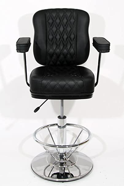 Barstools black Faux leather height adjustable arms