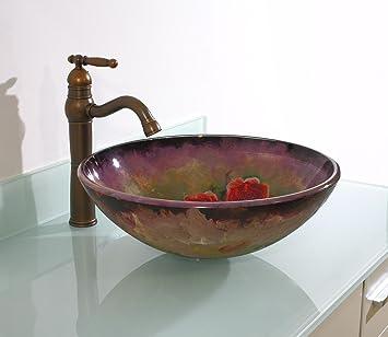 FEN Rose verniciate a mano Piani lavabo in vetro Tasche ad incasso WC Bagno Bagno Lavabo Lavabo T12 * ø420 * H145mm