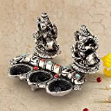 The Gift House White Metal Lord Laxmi Ganeshas With Diya Set 316
