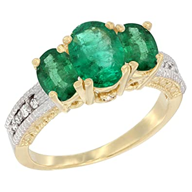 14ct Yellow Gold Diamond Natural Emerald Ring Oval 3-stone, sizes J - T