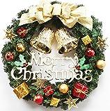 クリスマス リース 40cm ドア飾り リング 籐 玄関飾り ドアリース 屋内屋外 オーナメント 壁飾り クリスマス パーティ飾り リボン 花 ベル ゴールド