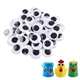 200pcs 25mm/1 inch Wiggle Googly Eyes with Self-Adhesive Round Black & White Eyes for DIY Arts Craft Supplies Party Decorations
