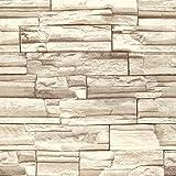 (ハンメロ)Hanmeroリピング 部屋 diy リフォーム用 レンガ柄 はがせる ビニール壁紙 のりなし 53cm×10m ベージュ