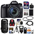 Canon EOS 70D Digital SLR Camera & EF-S 18-135mm IS STM & EF 70-300mm IS Lens + 64GB Card + Backpack + Flash + Battery + Tripod + Accessory Kit
