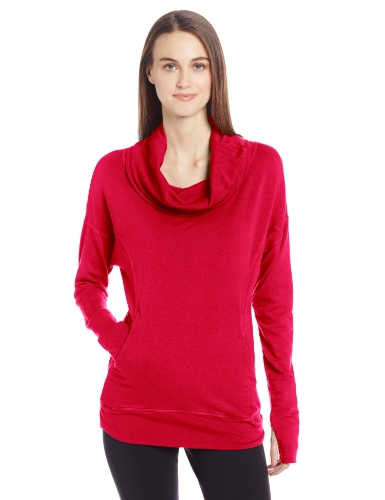 Pure Karma Women'S Ultra-Soft Bamboo Rayon French Terry Pullover, Cerise, Small front-874886