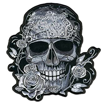 "Amazon.com: 4"" Rhinestone Skull Bandana Rose Embroidered"