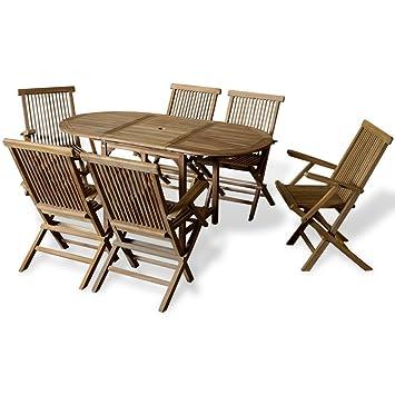 vidaXL siete piezas Teca al aire libre juego de comedor con mesa extensible