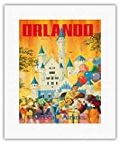 Orlando - Florida, USA - Walt Disney World Resort - National Airlines - Vintage Airline Travel Poster by Bill Simon c.1970s - Fine Art Rolled Canvas Print - 11in x 14in