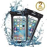iphone7/6s 防水ケース, ESR IPX8 防水力抜群 水、お湯、雪や埃等完璧にシャットアウト ストラップ付属 6センチ以下全機種対応(ブラック2枚)