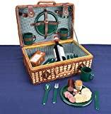 Trademark Innovations Wicker Rattan Suitcase Style Picnic Basket, Brown