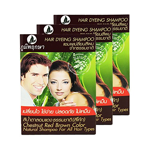 Hair Dyeing Shampoo Natural Herb No Ammonia Poompuksa Color CHESTNUT RED BROWN 3 pcs. (Lime Green Hair Dryer compare prices)