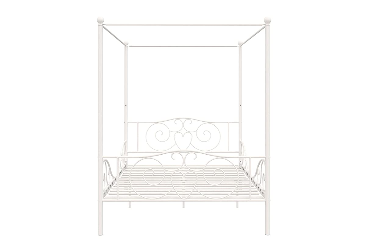 DHP 4020129 Canopy Bed with Sturdy Frame, Metal, Full, White