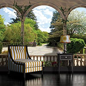 Arches formal garden view wallpaper mural for Amazon mural wallpaper