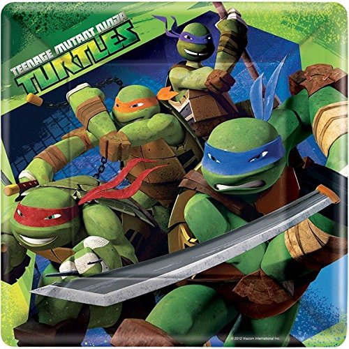 Teenage Mutant Ninja Turtles 9 in Square Plate, Pack of 8, Party Supplies - 1