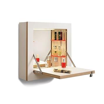 Fläpps Schminktänk - Tocador blanco7borde madera/lacado/W x H x D: 40 x 40 x 30cm/working space 70 x 40cm/incl. mirror