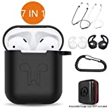 AirPods Case 7 in 1 Airpods Accessories Kits Protective Silicone Cover and Skin for Apple Airpods Charging Case with Airpods Ear Hook Grips/Airpods St