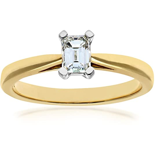 Naava 18ct 4 Claw Tapered Engagement Ring, F/VS1 EGL Certified Diamond, Emerald Cut, 0.45ct