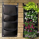 Sumnacon® Vertical Wall Garden Planter, Recycled Materials Wall Mount Balcony Plant Grow Bag for Yards, Apartments, Balconies, Patios, Schoolyards and community and rooftop gardens (4 Pocket)