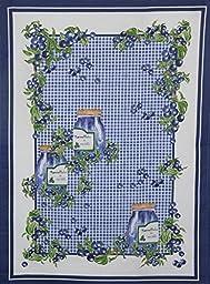 Mierco Fine European Linens 9PBlueberry 100-Percent Cotton Tea Towel Design Table Topper, 20 by 28-Inch, Blue/White