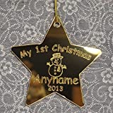 Personalised My 1st Christmas Star Tree Decoration/Bauble/Gift First Christmas Baby Gold Mirror - LittleShopOfWishes
