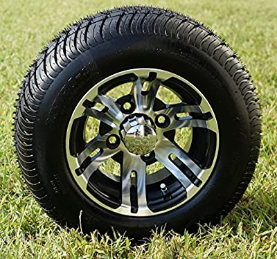 "10"" BULLDOG Machined Golf Cart Wheels and 205/50-10 DOT Golf Cart Tires Combo - Set of 4"