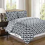 Navy and White Sierra 3-piece Full / Queen Comforter Cover (Duvet-Cover-Set) 100 % Egyptian Cotton 300 TC