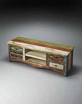 Entertainment Console in Heavy Distressed Finish