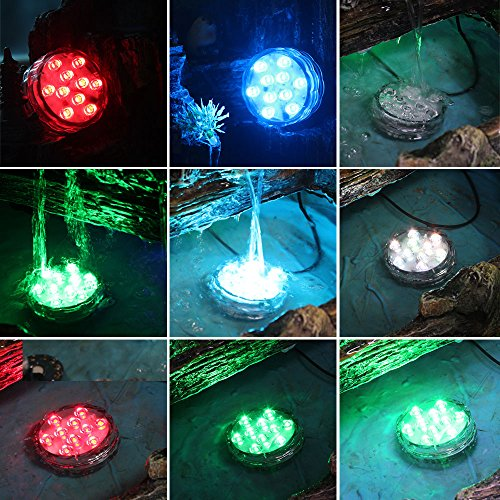 Hallomall™ Multicolor Submersible LED Lights, Underwater Pond Lighting/ Fountain Lighting, LED Accent Lights with IR Remote Control for Wedding /Centerpiece /Halloween/ Party/ Christmas/ Stage Decors/ (1 pack)
