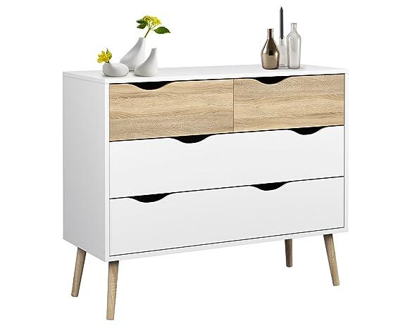 Esidra 75395 Delta Cassettiera, 4 Cassetti, legno_composito, Bianco, 98.6x39.1x81.7 cm