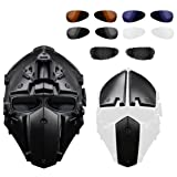 HYOUT Full Face Protective Mask Tactical Airsoft Helmet with Visor Goggles for Hunting Paintball Military Motorcycle Cosplay Movie Prop (W2-Black-Black-1)
