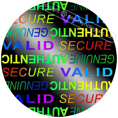 "42 3D Stickers Protective Security Holograms ""Secure, Valid, Genuine, Authentic"" Tamper Evident Circle .79""(20 mm)"