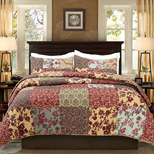Luxury Retro Floral Stitching Cotton Patchwork Bedspread Sets Quilt Queen Size (Target Queen Comforter Set compare prices)