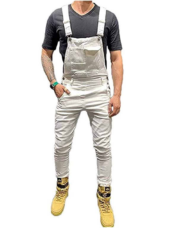 Mekysd Men's Denim Bib Workwear Fashion Denim Jumpsuit Slim Fit Jumpsuit with Pocket (White, S) (Color: White, Tamaño: Small)