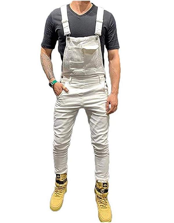 Mekysd Men's Denim Bib Workwear Fashion Denim Jumpsuit Slim Fit Jumpsuit with Pocket (White, S) (Color: White, Tamaño: Small)