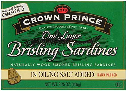 Crown Prince One Layer Brisling Sardines In Oil, No Salt Added, 3.75-Ounce Cans (Pack Of 12)