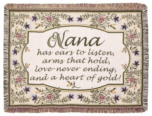Heart Of Gold Nana Tapestry Toss Blanket Throw Usa Made front-878289