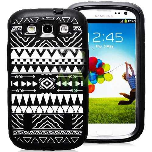 Mylife (Tm) Black - Tribal Print Armor Series (Durable Built In Screen Protector + Urban Body Armor Glove) Case For Samsung Galaxy S3 Gt-I9300 And Gt-I9305 Touch Phone (Thick Silicone Outer Gel + Tough Rubberized Internal Shell)