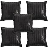 Idrape Polyester 5 Piece Cushion Cover Set- Black, 40 Cm X 40 Cm - B013UCR5KC