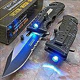 Tac-force Black Sheriff LED Tactical Rescue Pocket Knife