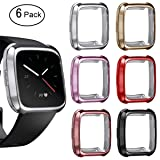 Kartice Compatible Fitbit Versa Case Cover, TPU Soft Accessories Fitbit Versa Protective Case Frame Cover Shell for Fitbit Versa Smart Fitness Watch(Need to take Off case to Charge) (Et-6 Colors) (Color: Et-6 colors)