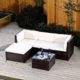 Rattan Modular Corner Sofa Set Garden Conservatory Furniture 5 To 9 Pcs INCLUDES GARDEN FURNITURE COVER (Milano, Brown)