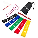 Resistance Loop Bands[free Yoga mat bundle belt]-Set of 5 Exercise Bands for Improving Mobility and Strength, Yoga, Pilates or for Injury Rehabilitati