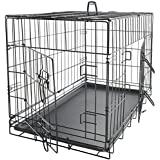 "OxGord 42"" XXL Dog Crate, Double-Doors Folding Metal w/ Divider & Tray 