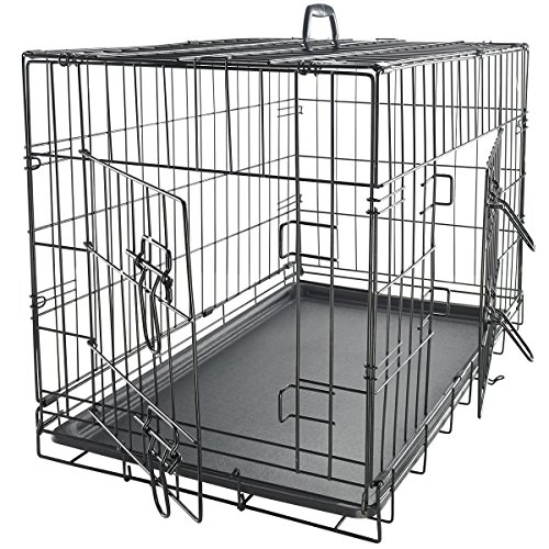 OxGord 24″ Medium Dog Crate, Double-Doors Folding Metal w/ Divider & Tray | 24″ x 17″ x 19″ | 2016 Newly Designed Model