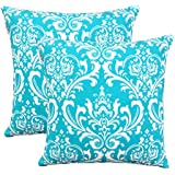 TreeWool, (Pack of 2) Damask Cotton Canvas Decorative Throw Pillow Cushion Covers by TreeWool Cushion Collections - 18 X 18 Inches (Turquoise)