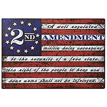 2nd Amendment Brand Vintage American Flag Tin Sign 11