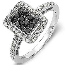 buy 0.55 Carat (Ctw) 10K White Gold Black & White Round Diamond Ladies Cocktail Ring 1/2 Ct (Size 7)