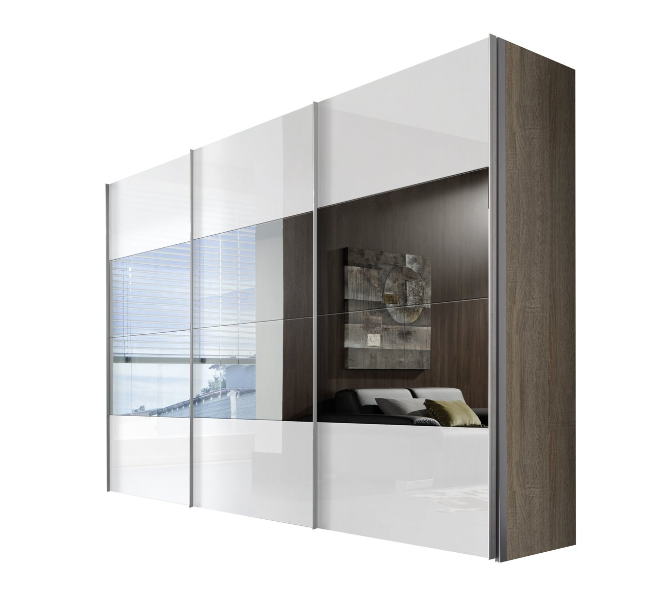 Solutions 49670-768 Schwebetürenschrank 3-türig, Korpus Sonoma-eiche, Front lack weiß, Spiegel, Griffleisten alufarben, 68 x 300 x 216 cm