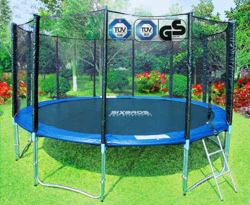 SixBros. Sport - SixJump 14FT XXL Professional Gartentrampolin Trampolin 4,30 m  | Leiter | Sicherheitsnetz | Wetterplane | 180kg Tragkraft | Modell 2012 | TV/GS geprft